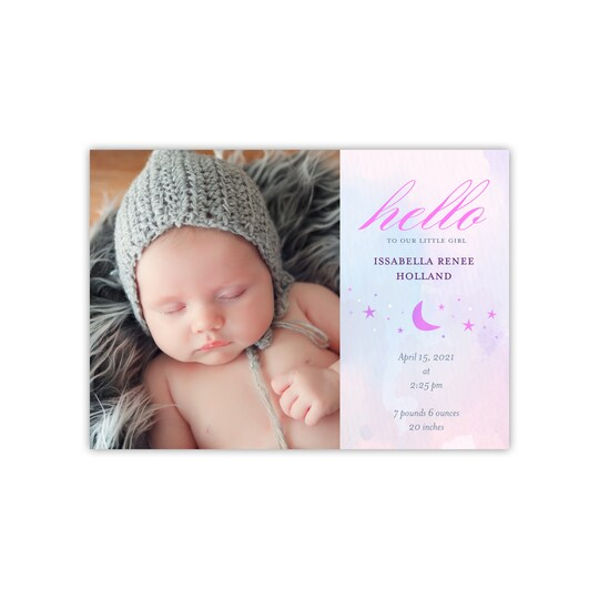20 Pack of Gartner Studios® Personalized Ethereal Flat Baby Announcement in Periwinkle   5