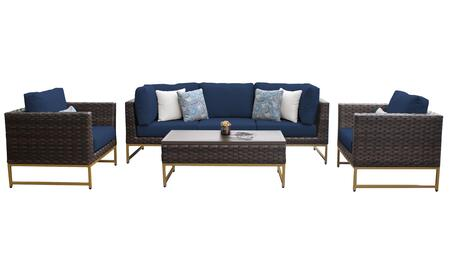 Barcelona BARCELONA-06r-GLD-NAVY 6-Piece Patio Set 06r with 2 Corner Chairs  1 Armless Chair  2 Club Chairs and 1 Coffee Table - Beige and Navy