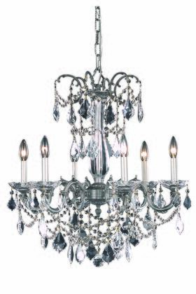 9706D23PW/SA 9706 Athena Collection Hanging Fixture D23in H26in Lt: 6 Pewter Finish (Swarovski Spectra