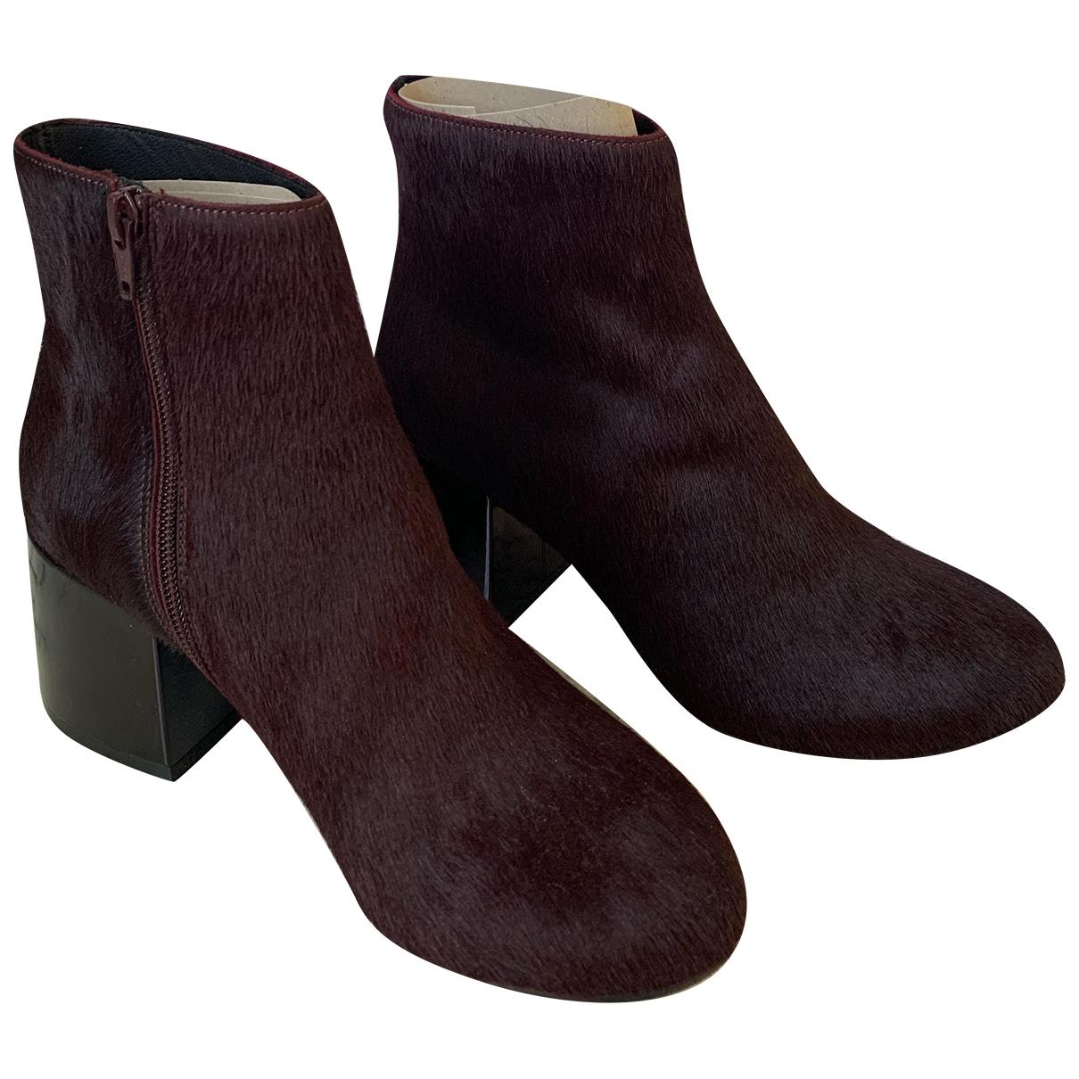 Maison Martin Margiela \N Burgundy Pony-style calfskin Ankle boots for Women 38.5 EU