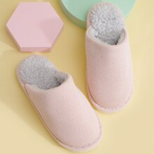 Minimalist Round Toe Fur Lined Slippers