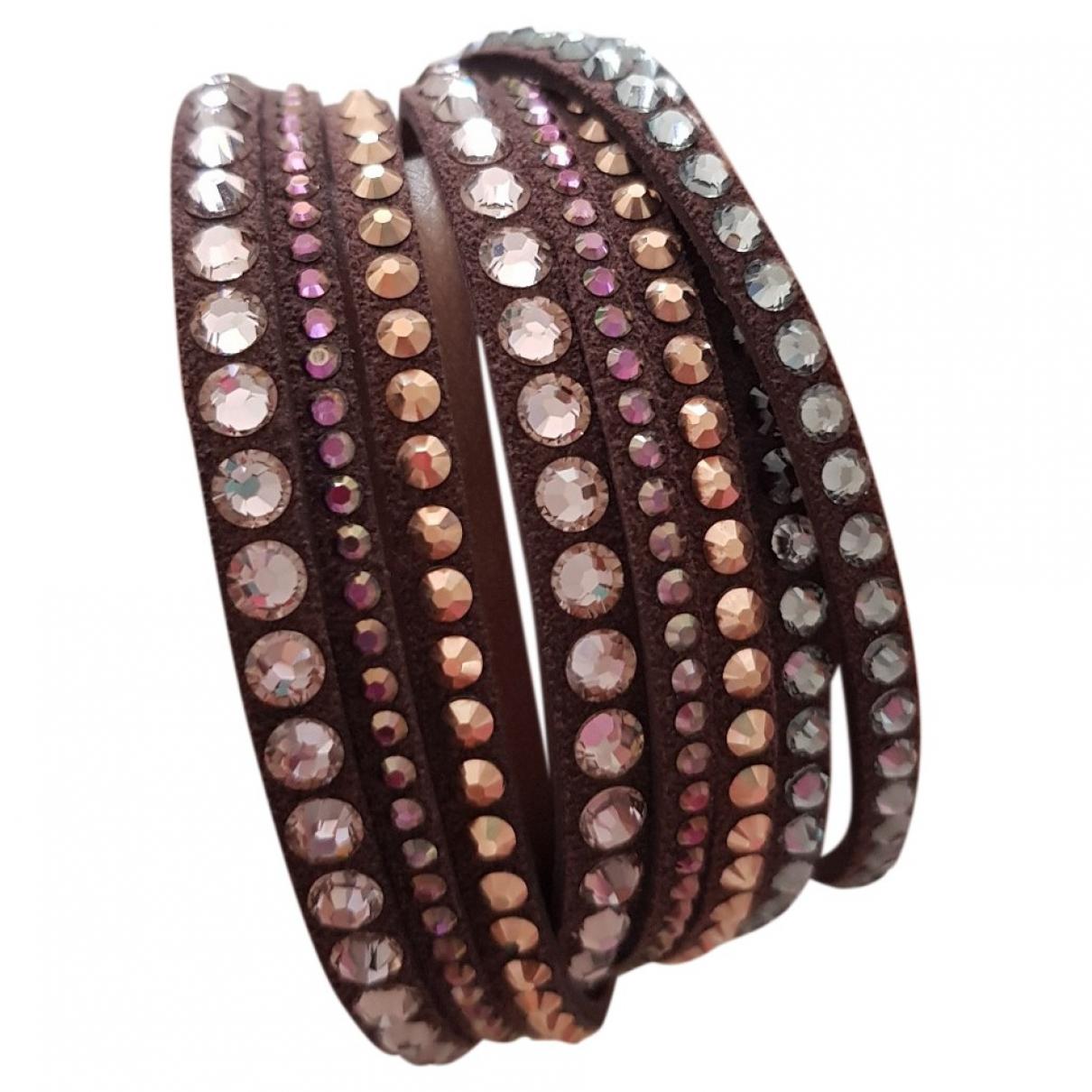 Swarovski - Bracelet Slake pour femme en cuir - marron