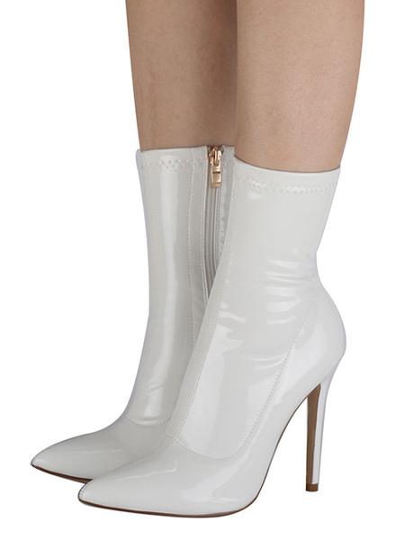 Milanoo Patente de tobillo de las mujeres botas blancas punta estrecha botines de tacon alto atractivo