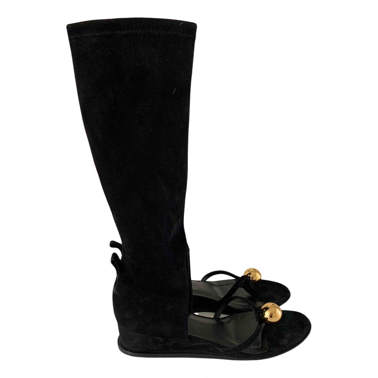 Jil Sander - Bottes   pour femme en suede - noir