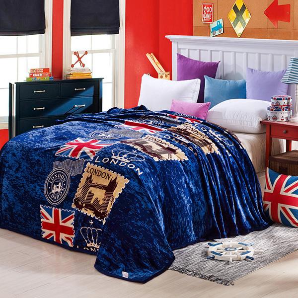 The Union Jack Print Dark Blue Bed Blanket