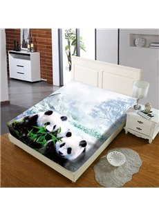 Pandas Eating Bamboo Leaves in The Snow Reactive Printing 1-Piece Polyester Bed Cover / Mattress Cover