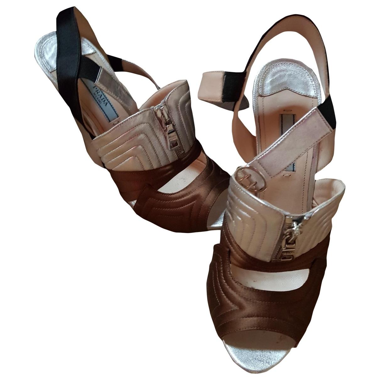 Prada \N Metallic Leather Heels for Women 38.5 EU