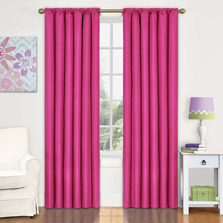 Eclipse Kids' Kendall Rod-Pocket Blackout Curtain Panel, One Size , Red
