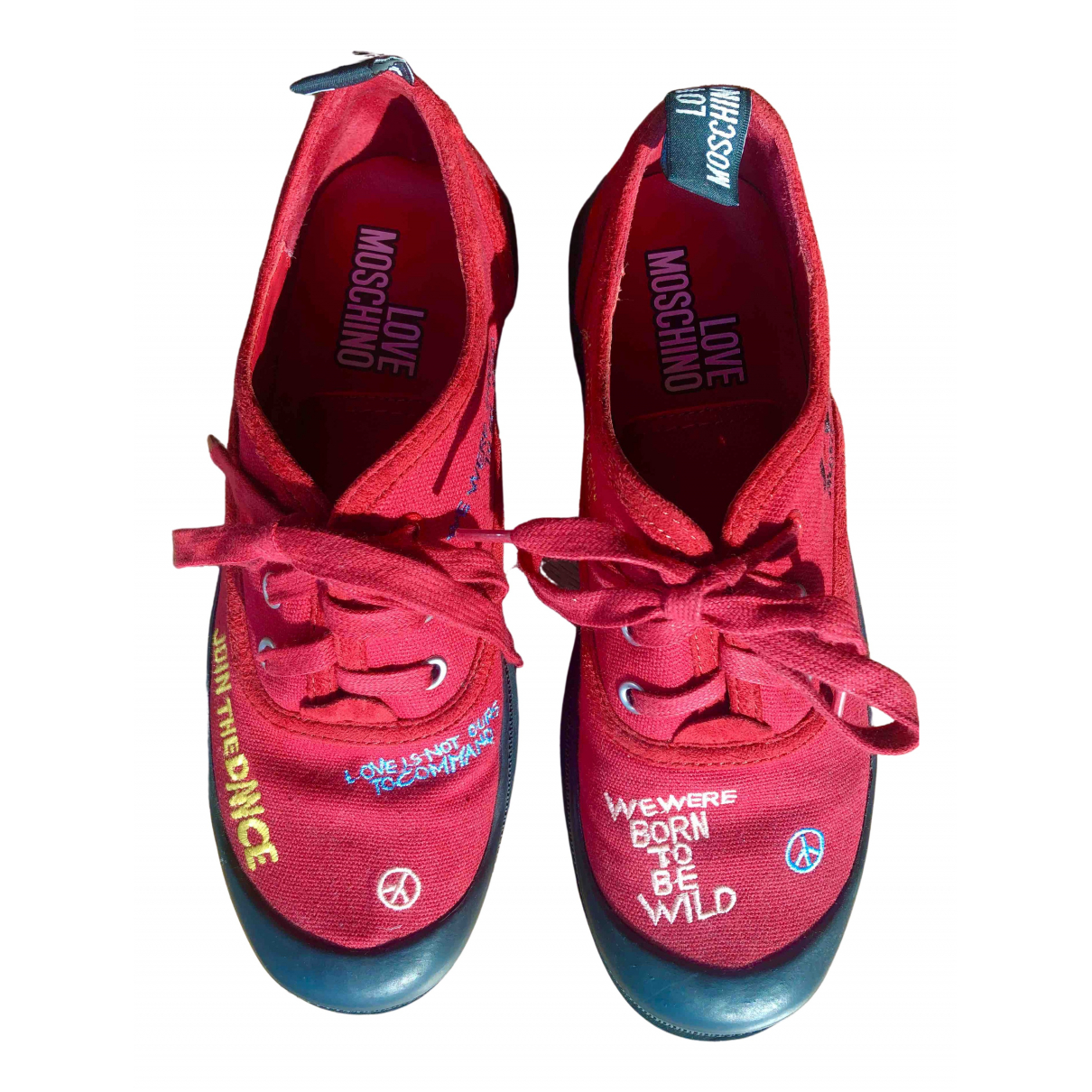 Moschino Love \N Sneakers in  Rot Leinen