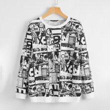 Pullover mit Pop Art Muster und sehr tief angesetzter Schulterpartie