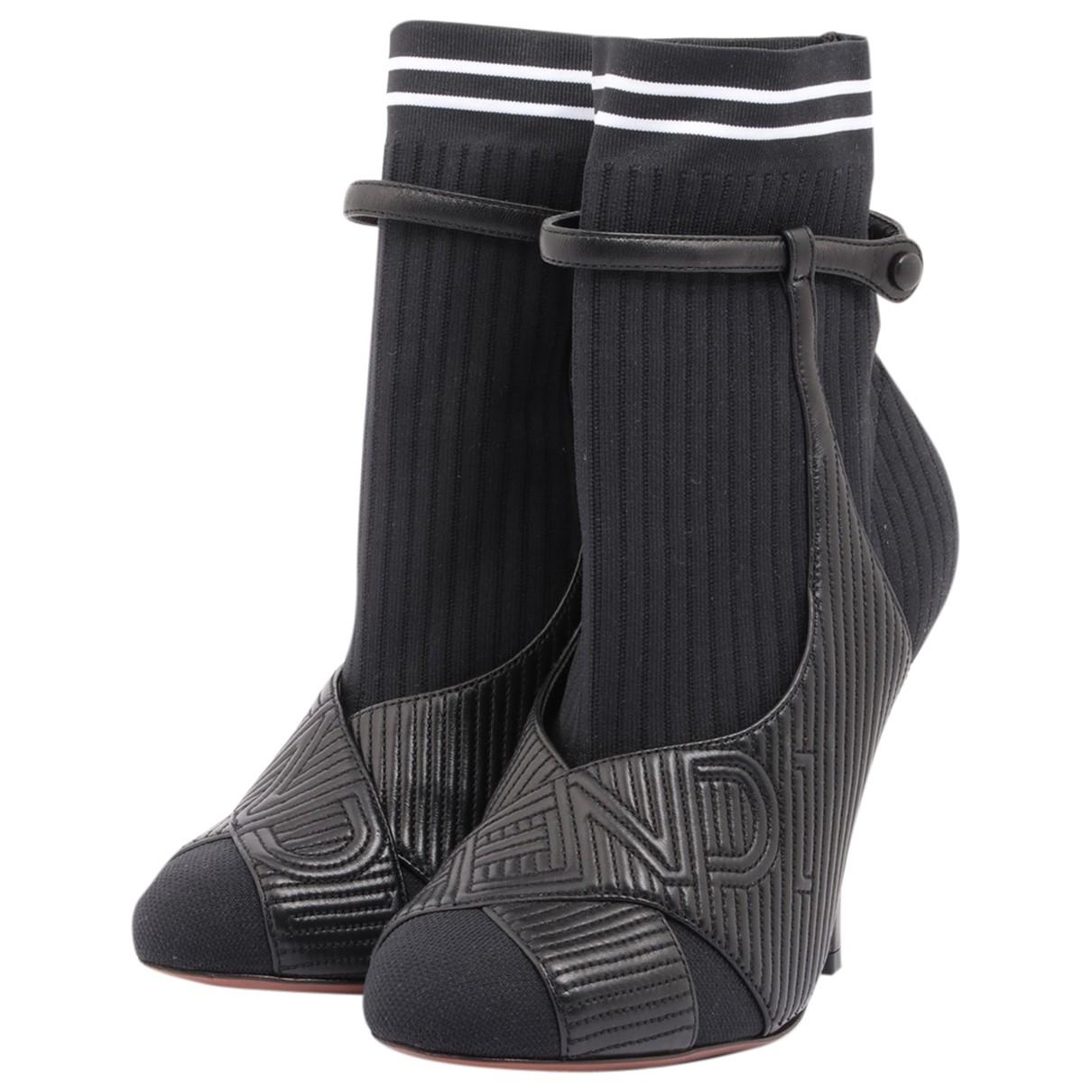 Fendi - Bottes   pour femme en cuir - noir