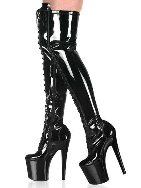 Milanoo Botas sexy para mujer Punta redonda con cordones Cremallera Tacon de aguja Rave Club Botas altas de muslo negro Zapatos de stripper