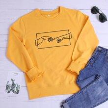 Round Neck Gesture Graphic Sweatshirt