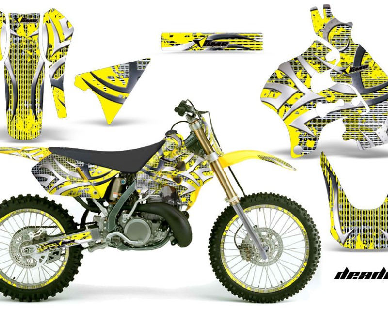 AMR Racing Graphics MX-NP-SUZ-RM125-96-98-DN Y Kit Decal Sticker Wrap + # Plates For Suzuki RM125 1996-1998 DEADEN YELLOW