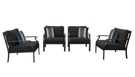 MADISON-04g-BLACK Kathy Ireland Homes and Gardens Madison Ave. 4 Piece Aluminum Patio Set 04g with 1 Set of Snow and 1 Set of Onyx