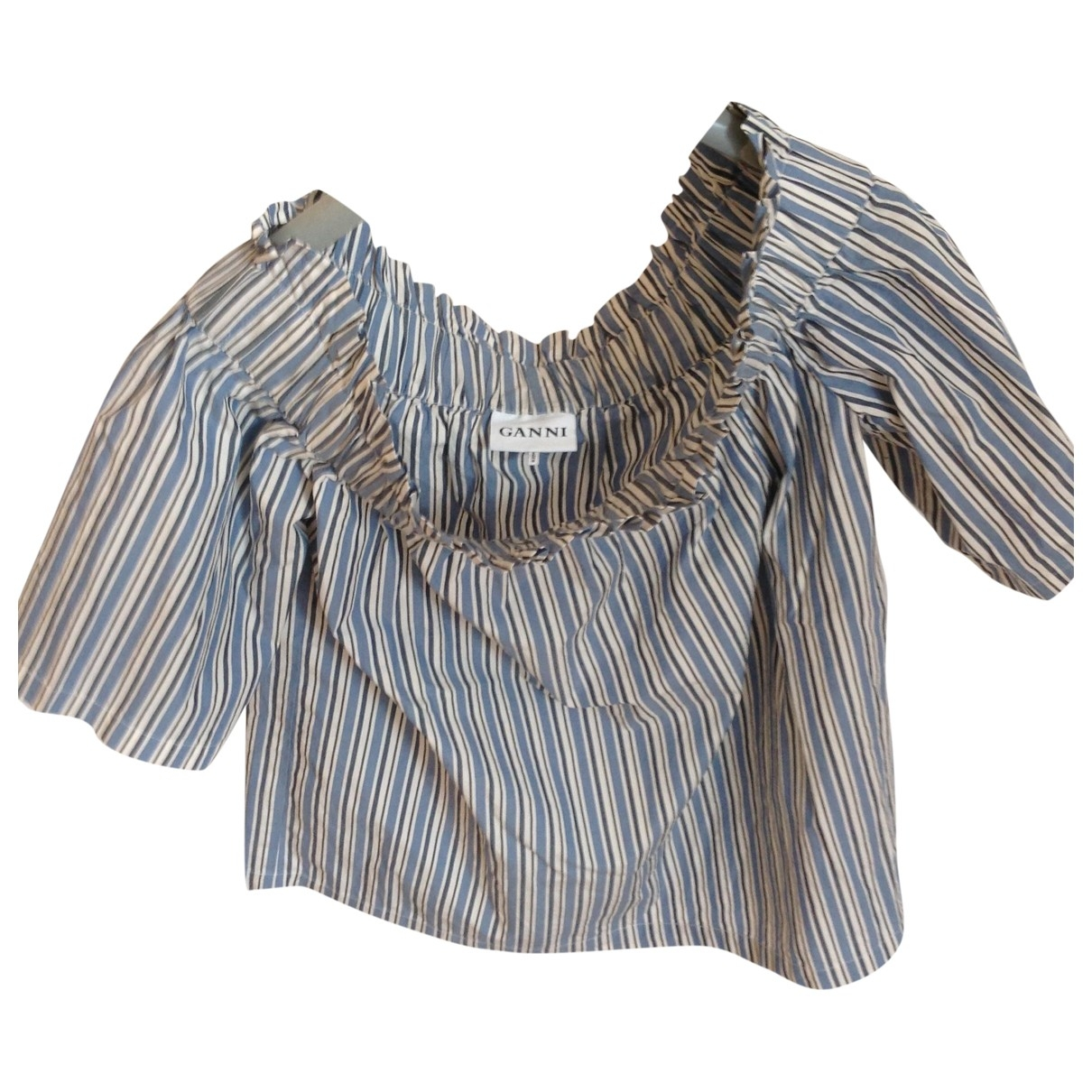 Ganni - Top   pour femme en coton - ecru