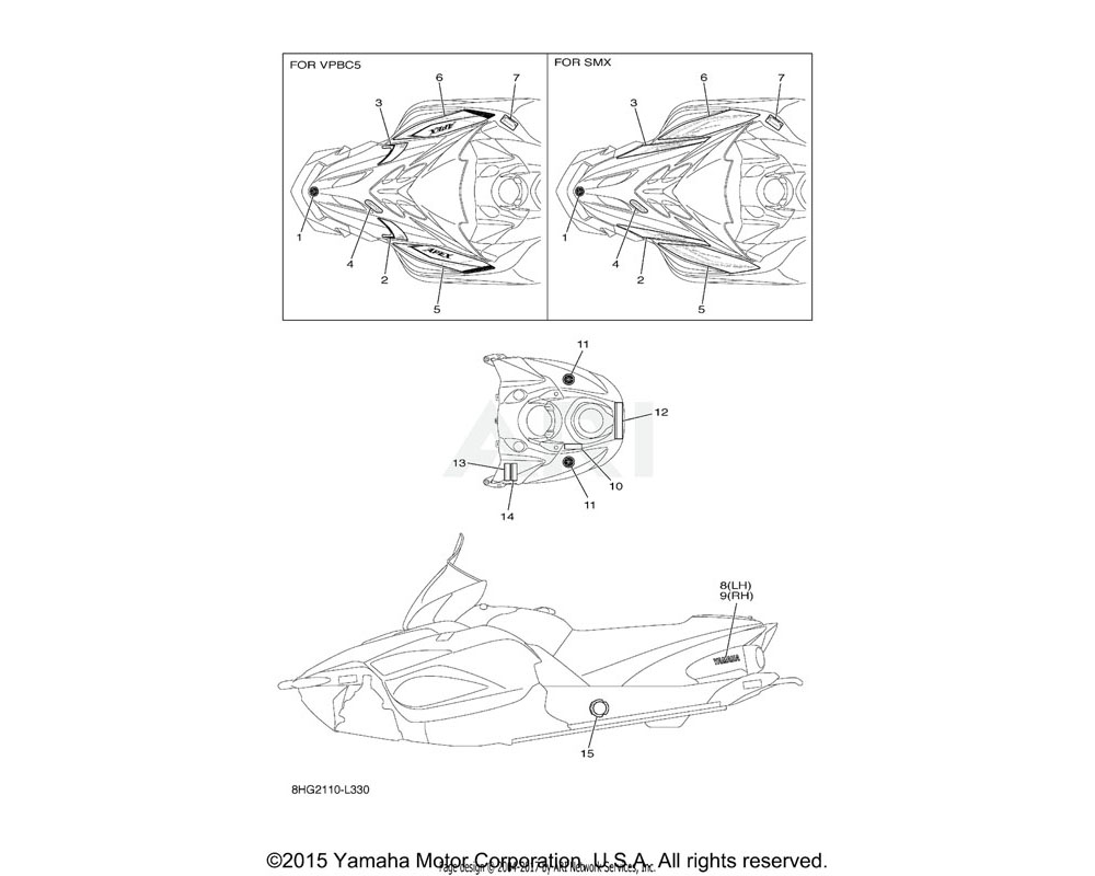 Yamaha OEM 8HG-7711B-30-00 GRAPHIC 2   Use for Color Black Metallic X ( SMX / 0903 )
