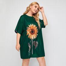 T-Shirt Kleid mit sehr tief angesetzter Schulterpartie, Buchstaben & Sonnenblumen Muster