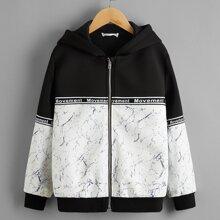 Jacke mit Marmor Einsatz, Buchstaben Muster, Band Detail, Reissverschluss und Kapuze