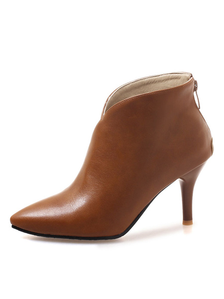 Milanoo Brown Ankle Boots Women Winter Boots Pointed Toe High Heel Booties