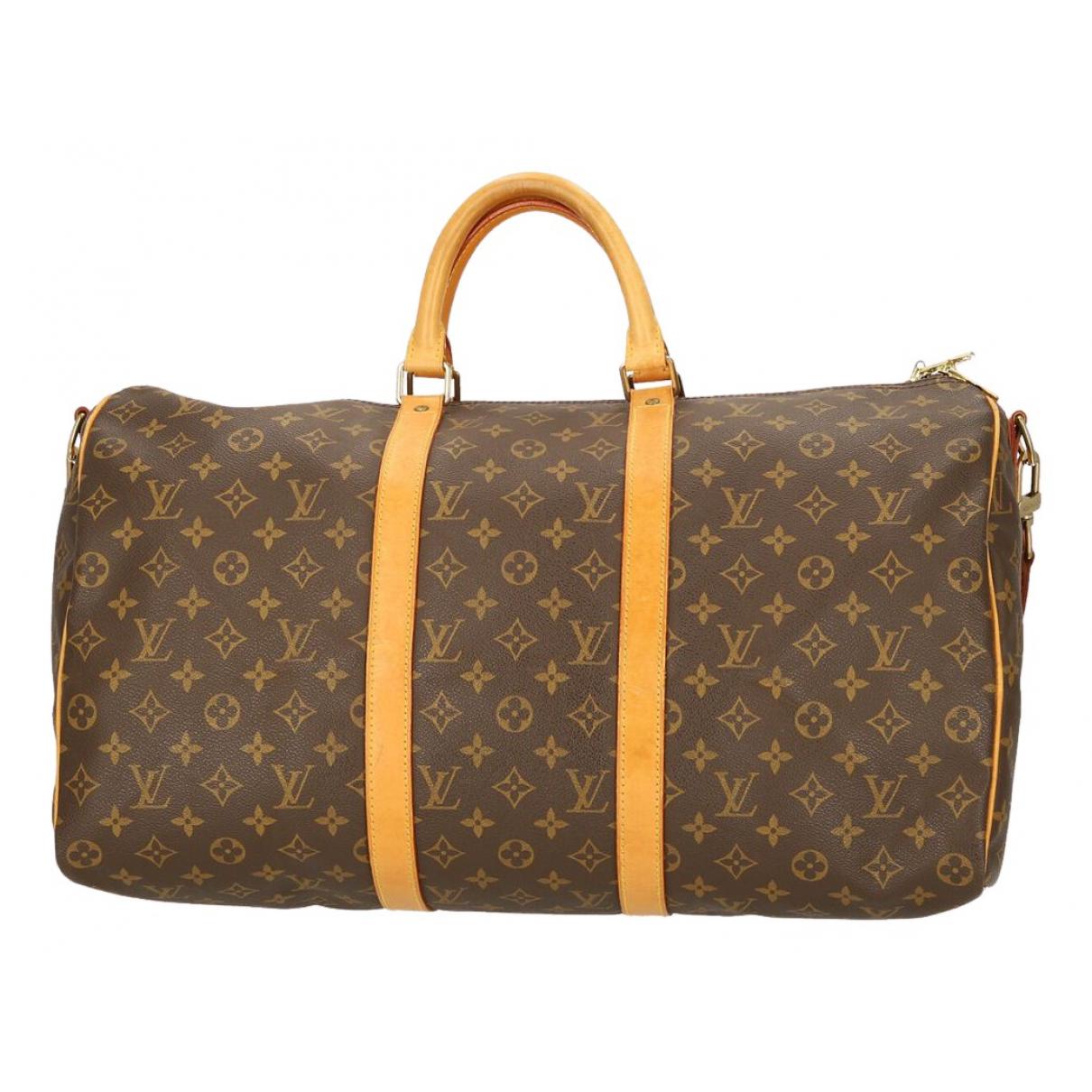 Louis Vuitton - Sac de voyage Keepall pour femme en toile - marron