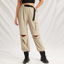 Flap Pocket Push Buckle Belted Pants