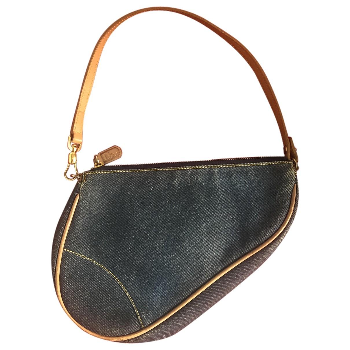Bolsos clutch Saddle en Algodon Azul Dior