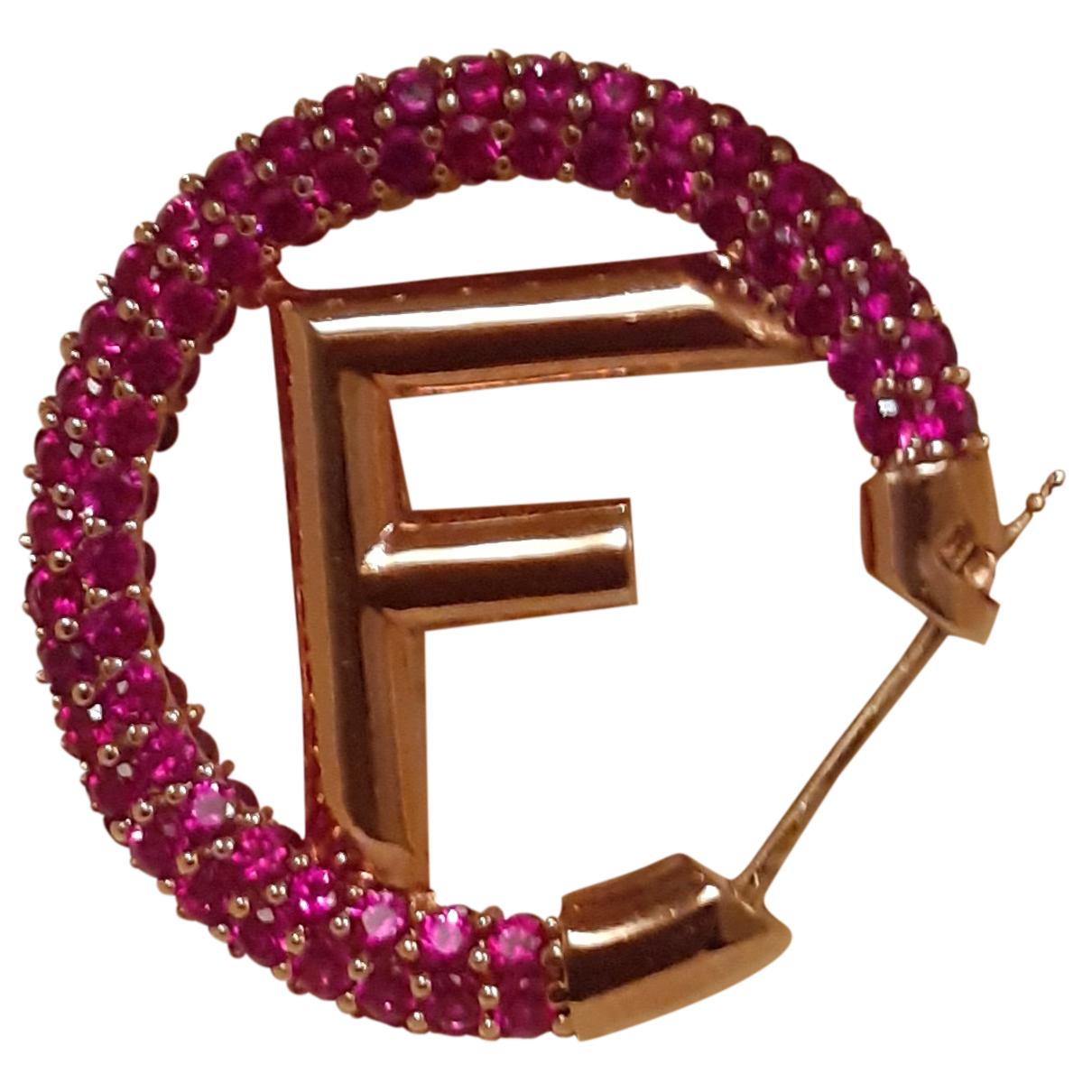 Fendi - Boucles doreilles The Fendista pour femme en metal - rose