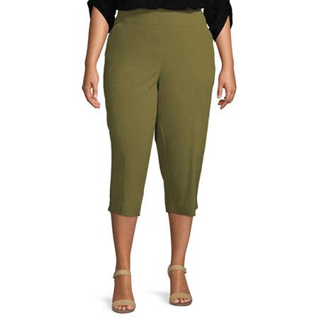 Liz Claiborne Millenium Pull On Cropped Pant - Plus, 16w , Green