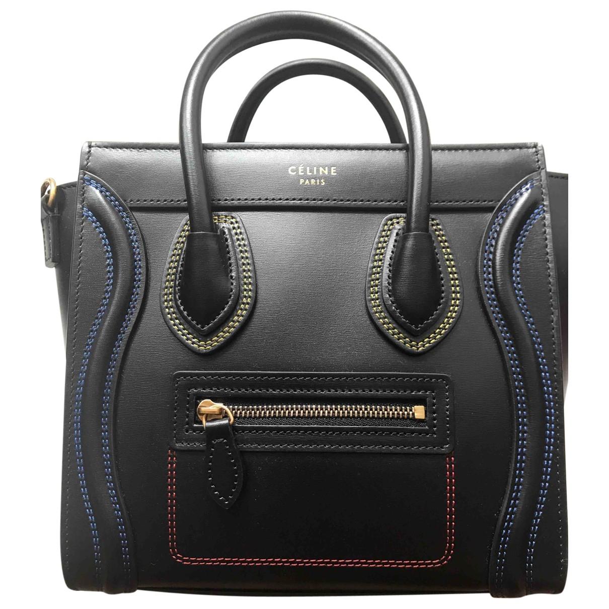 Celine Nano Luggage Handtasche in  Schwarz Leder
