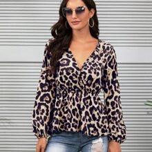 Leopard Print Ruffle Hem Surplice Blouse