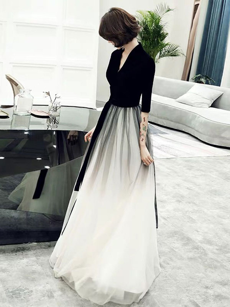 Milanoo Prom Dresses Long Tulle Half Sleeve Maxi Ombre Formal Gowns