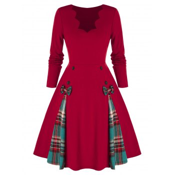 Plus Size Plaid Bowknot A Line Scalloped Dress