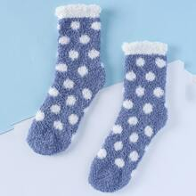 Polka Dot Fuzzy Socks
