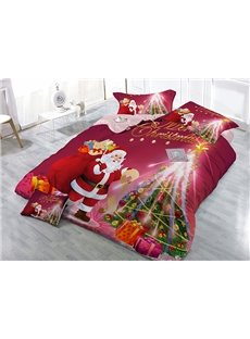 Santa Claus And Christmas Tree Wear-resistant Breathable High Quality 60s Cotton 4-Piece 3D Bedding Sets