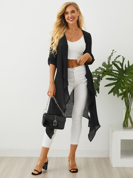 YOINS Black Irregular Hem Long sleeves Cardigans