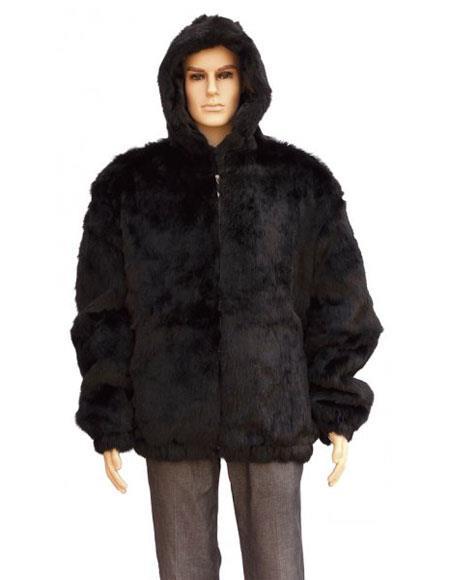 Men's Fur Black Pull Up Zipper Handmade Jacket