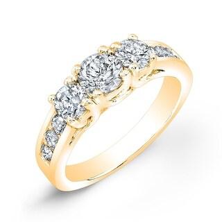 Ethical Sparkle 2ctw Round 3-Stone Lab Grown Diamond Engagement Ring 14k White Gold (Yellow - 5)