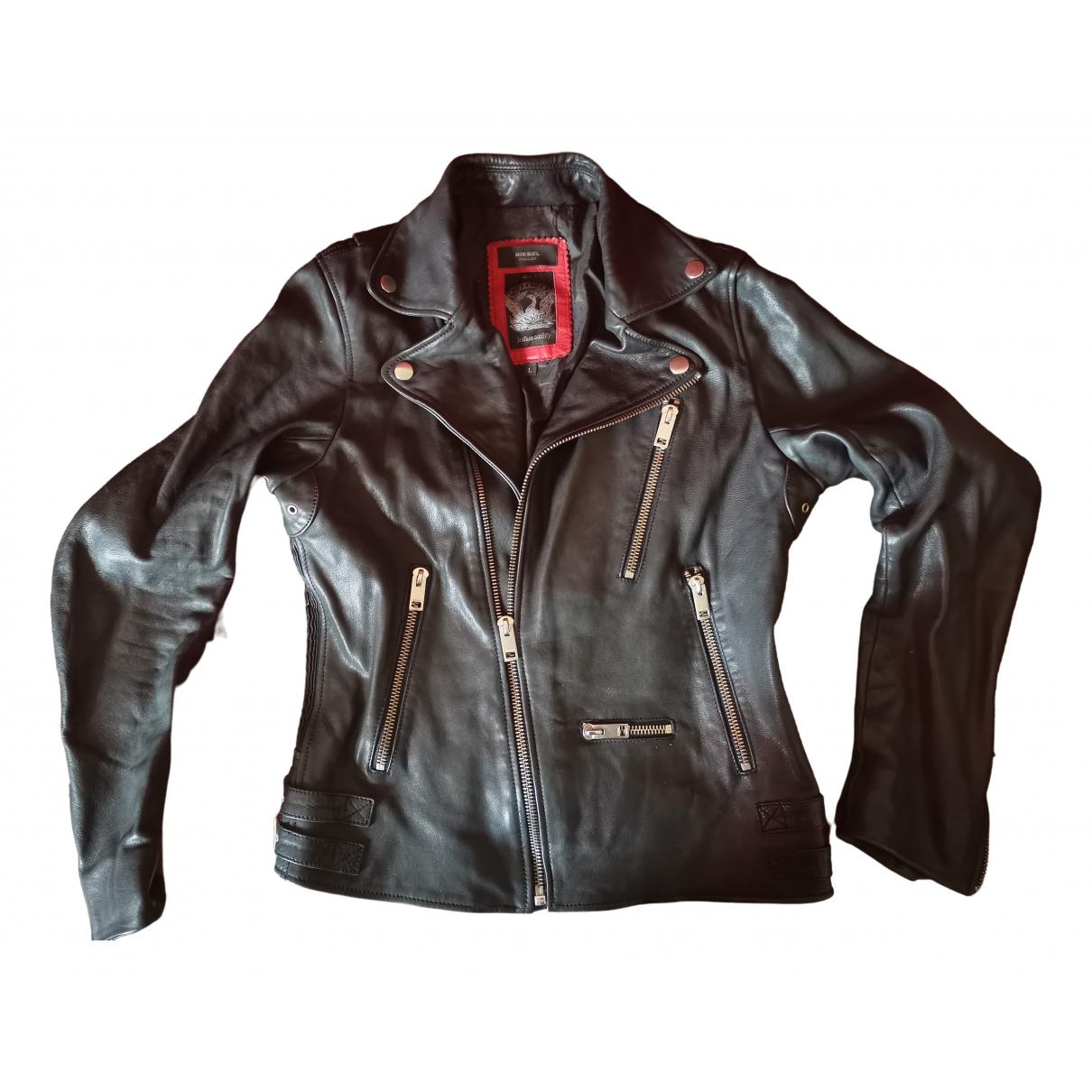 Diesel \N Jacke in  Schwarz Leder