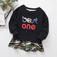 Toddler Girls Contrast Camo Letter Graphic Sweatshirt