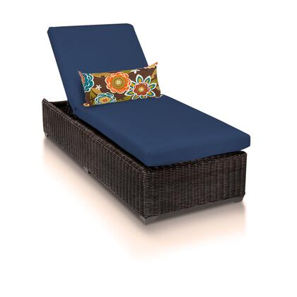 VENICE-1x-NAVY Venice Chaise Outdoor Wicker Patio Furniture with 2 Covers: Wheat and