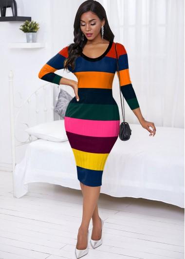 Cocktail Party Dress Back Slit Rainbow Stripe Sweater Dress - M