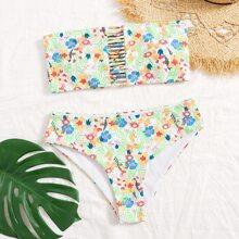 Bandeau Bikini Badeanzug mit Blumen Muster und Leiterausschnitt