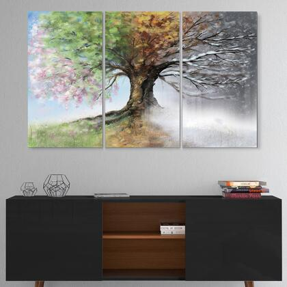 MT9283-3P Tree With Four Seasons - Multipanel Tree Painting Metal Wall Art - 36X28 - 3