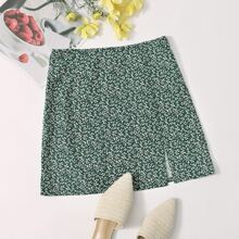 Allover Plants Print Split Hem Skirt