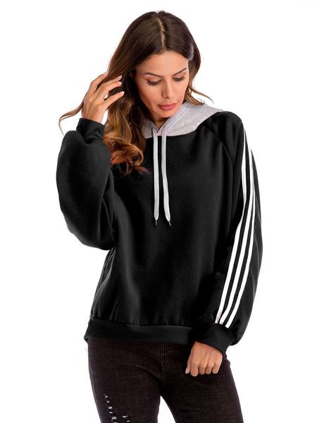 Milanoo Women\'s Hoodie White Long Sleeves Color Block Polyester Hooded Sweatshirt