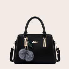 Pom-pom & Leaf Charm Tote Bag