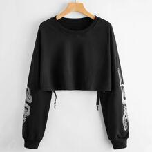 Crop Pullover mit chinesischen Drachen Muster