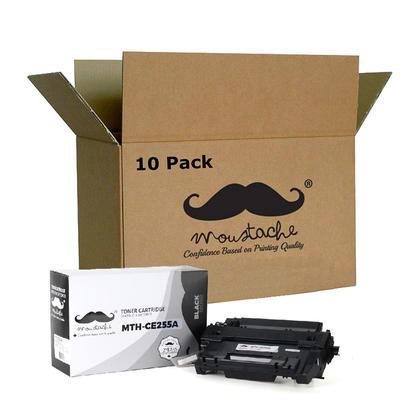 Compatible HP 55A CE255A Black Toner Cartridge - Moustache - 10/Pack
