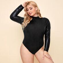 Plus Mock Neck Solid Bodysuit